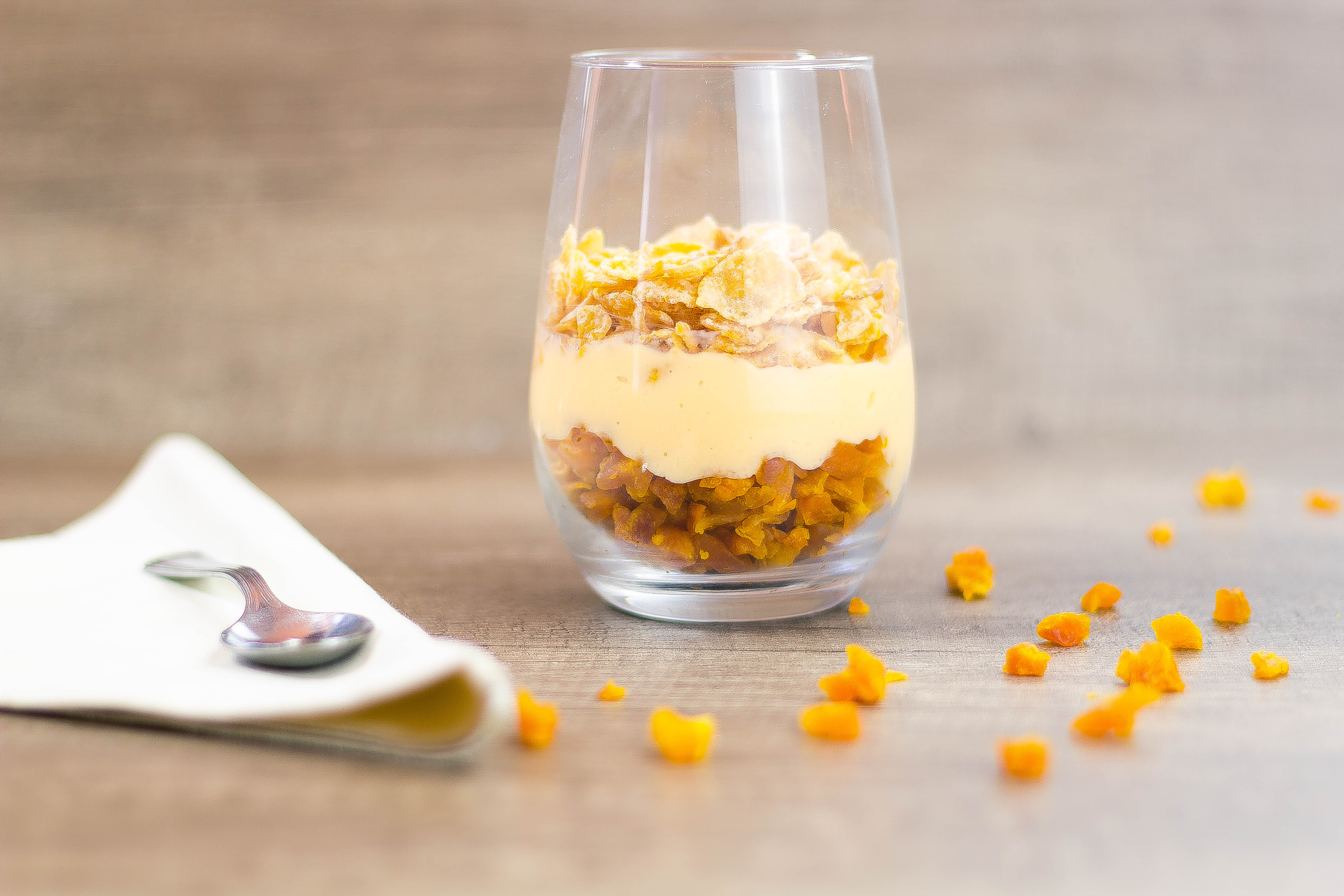 Dried Peaches Yogurt with Cereal topping